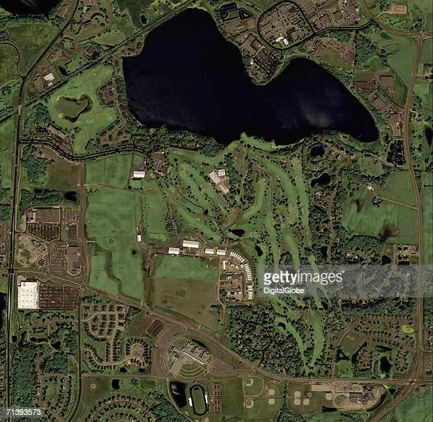 This natural color image was collected on July 23 2002 of Hazeltine National Golf Club Chaska Minnesota