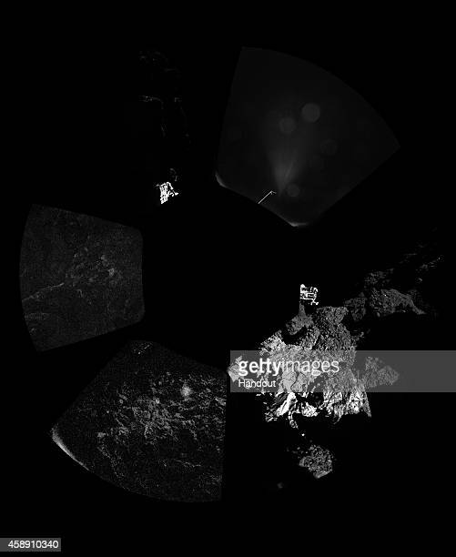 This November 13 2014 handout photo provided by the European Space Agency shows the first panoramic 'postcard' from the surface of a comet returned...