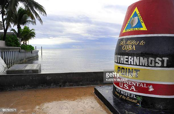 This November 25 2009 photo shows the marker at the southernmost point in the continental US in Key West FloridaThe marker is 90 miles from Cuba...