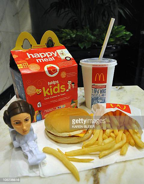 This October 13 2010 photo shows a McDonald's Happy Meal complete with a Star Wars toy New York City artist Sally Davies bought a Happy Meal six...