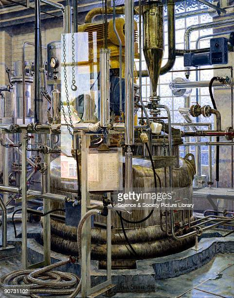 This oil painting by Alan Stones shows the interior of the Pilot Plant Fermenter Room at Dista Products plant at Speke Liverpool In 1981 this became...