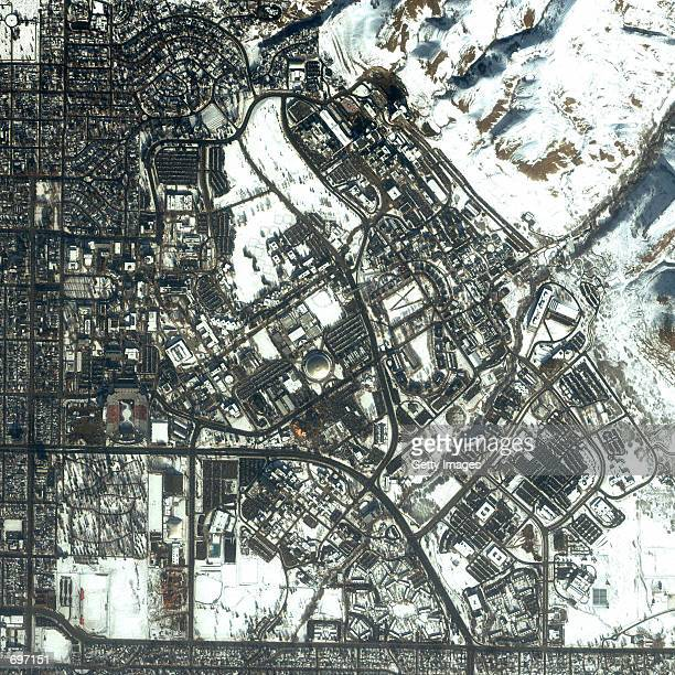This one-meter resolution image of Salt Lake City, UT was collected by Space Imagings IKONOS satellite January 7, 2002. The image showcases the 2002...