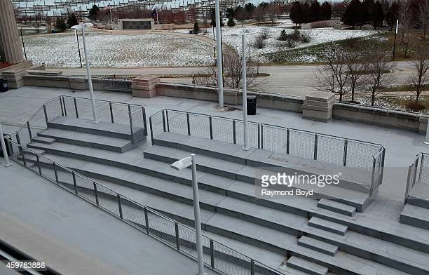 This original seating at Soldier Field is one of the only remaining memories of the old stadium at Soldier Field home of the Chicago Bears football...