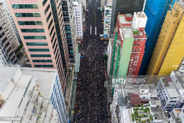 TOPSHOT This overhead view shows thousands of protesters marching through the street as they take part in a new rally against a controversial...