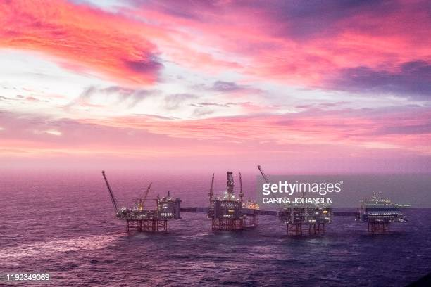 This overview shows the Johan Sverdrup oil field in the North Sea west of Stavanger, Norway, on January 7, 2020. - Johan Sverdrup, situated some 140...