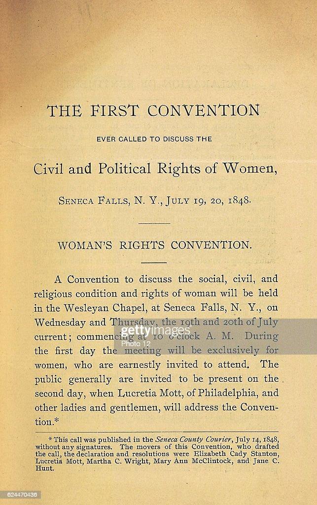 Declaration of Rights by Elizabeth Cady Stanton. : News Photo