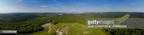 This panorama picture created by assembling 21 pictures shows an aerial view of the World War One war site of Fort de Douaumont in Douaumont eastern...