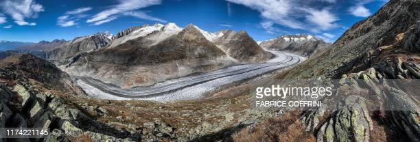 This panorama picture taken on October 01 2019 shows Aletsch glacier above Bettmeralp Swiss Alps The mighty Aletsch the largest glacier in the Alps...