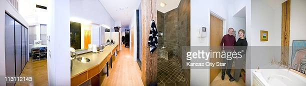 This panoramic illustration of the upstairs hall/bath area of Amy Parker and Bob McDonald's downtown Kansas City loft was created by joining several...