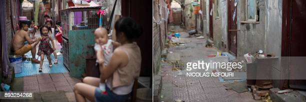 This photo combo shows a file picture taken on August 17, 2017 of a family sitting and playing outside their rooms in a migrant village on the...