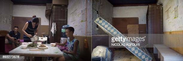 This photo combo shows a file picture taken on August 17 2017 of a woman walking out from her room to cook in her tiny kitchen set up outside her...