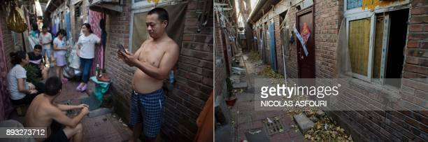 This photo combo shows a file picture taken on August 17 2017 of people standing outside their rooms on a street in a migrant village on the...