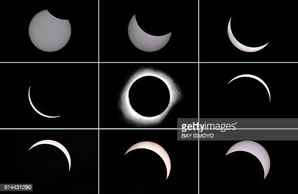 TOPSHOT This photo combo shows the moon passing in front of the sun during a total solar eclipse in the city of Ternate in Indonesia's Maluku Islands...