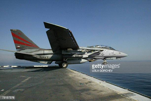This photo dated 20 March 2003 shows a US Navy F14A Tomcat taking off from the USS Kitty Hawk in northern Gulf waters The Pentagon has frozen the...