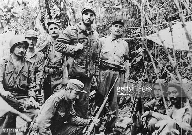 This photo filed June 1957 is believed to be the only existing one of Fidel Castro leader of Cuba's revolutionary forces and members of his staff and...