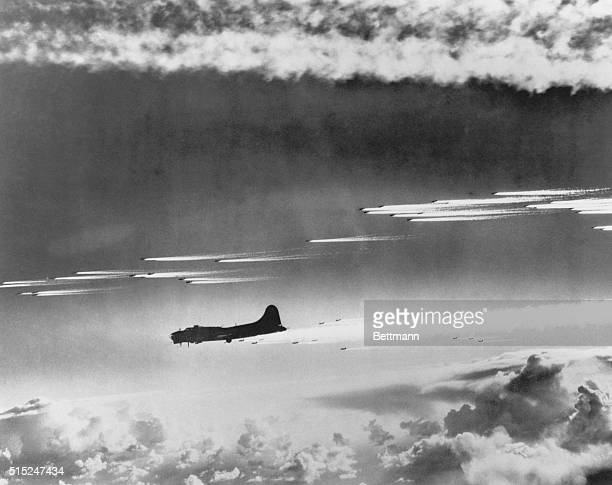 This photo gives a part of the pictorial account of the Air Forces largest raid on Germany On November 26 the largest number of eighth Air Forces...