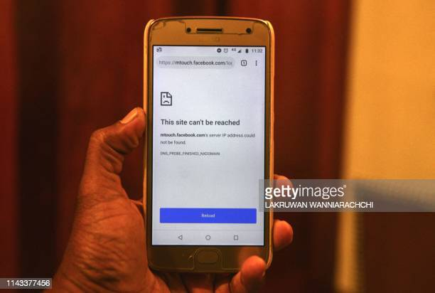 This photo illustration show a mobile browser unable to connect to Facebook following the Sri Lankan government's islandwide social network shutdown...
