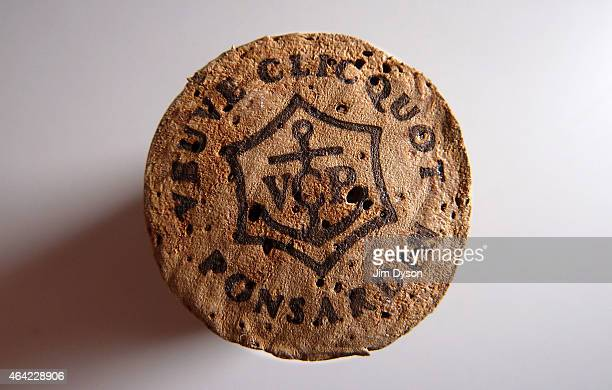 This photo illustration shows a closeup detail of a champagne cork of the Veuve Clicquot Ponsardin Champagne house in Reims on February 20 2015 in...