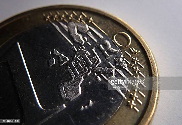 This photo illustration shows a detail of a One Euro coin on February 20 2014 in London United Kingdom The euro is the currency of the Eurozone which...