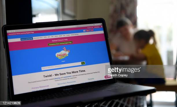 This photo illustration shows a detailed view of the Twinkl educational website on the first day of the nationwide school closures on March 23 2020...