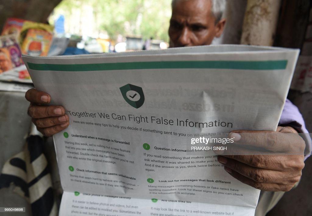 INDIA-INTERNET-FACEBOOK-WHATSAPP : News Photo