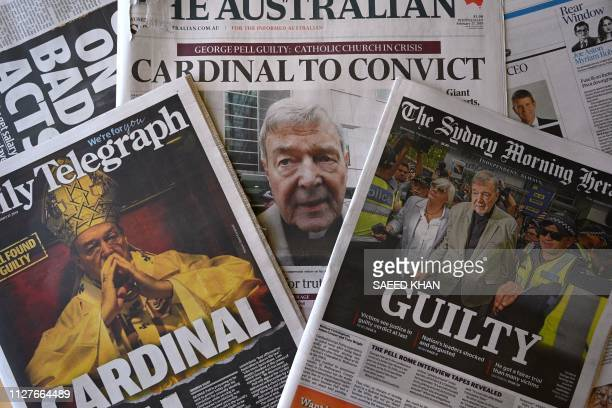 This photo illustration shows the front pages of Australia's major newspapers reporting the conviction of Cardinal George Pell in Sydney on February...
