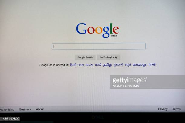 This photo illustration shows the search page of Google on a computer in an office in New Delhi on September 1 2015 India's competition investigators...