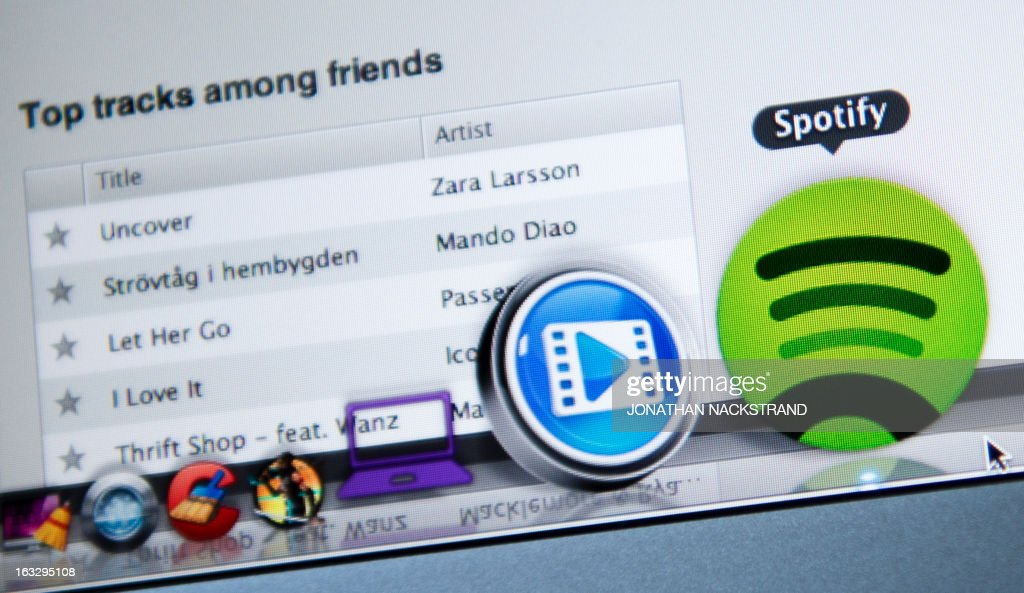 This photo illustration shows the Swedish music streaming service Spotify on March 7, 2013 in Stockholm, Sweden. Sweden is at the forefront of a global recovery in music sales driven by streaming music services such as Spotify.
