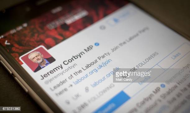 This photo illustration shows the Twitter page for Jeremy Corbyn the leader of the Labour Party on an iPhone on April 26 2017 in Bristol England The...