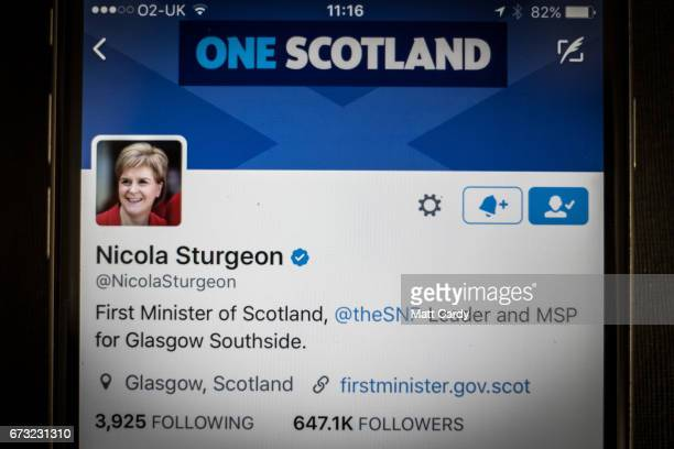 This photo illustration shows the Twitter page for Nicola Sturgeon leader of the SNP Party on an iPhone on April 26 2017 in Bristol England The use...