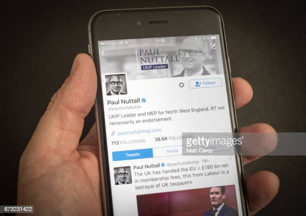This photo illustration shows the Twitter page for Paul Nuttal the leader of UKIP Party on an iPhone on April 26 2017 in Bristol England The use of...