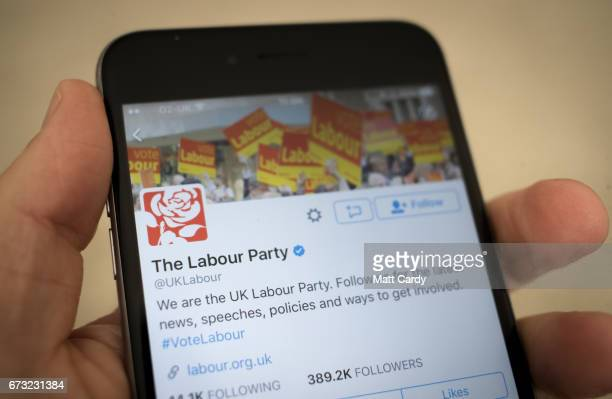 This photo illustration shows the Twitter page the Labour Party on an iPhone on April 26 2017 in Bristol England The use of digital marketing and...