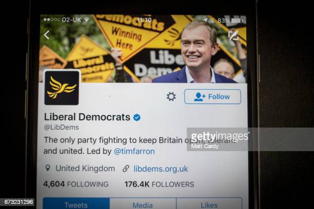 This photo illustration shows the Twitter page the Liberal Democrat Party on an iPhone on April 26 2017 in Bristol England The use of digital...