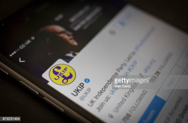 This photo illustration shows the Twitter page the UKIP Party on an iPhone on April 26 2017 in Bristol England The use of digital marketing and...