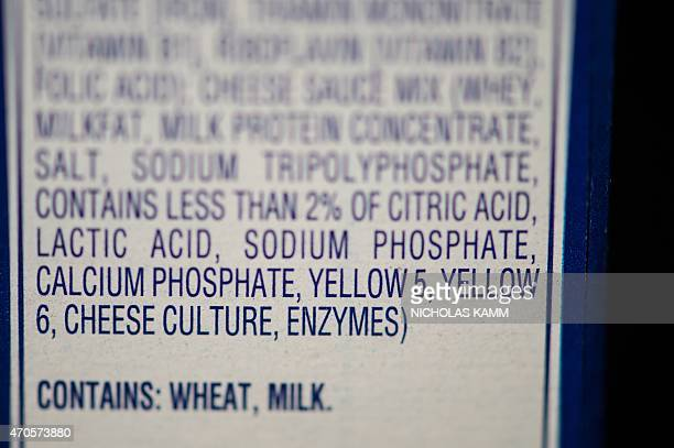 This photo illustration shows the two yellow food colorings in the list of ingredients on a pack of Kraft's macaroni and cheese in Washington on...