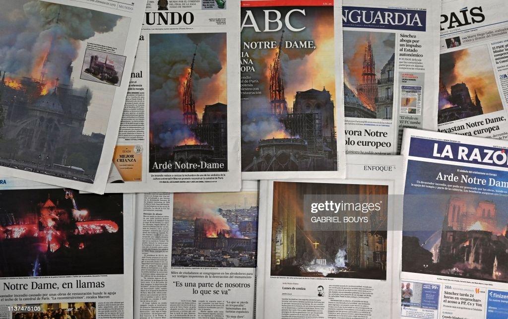 SPAIN-FRANCE-FIRE-NOTRE DAME-PRESS : Photo d'actualité