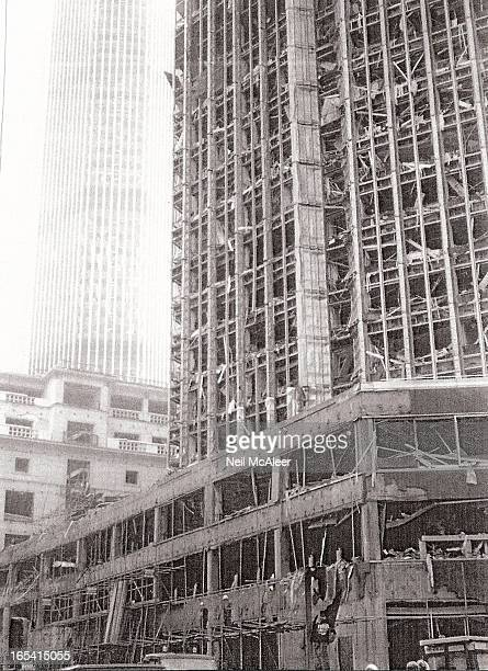 This photo is taken in the days after the 1993 IRA bomb in Bishopsgate in the City of London. This caused extensive damage with major rebuilding...