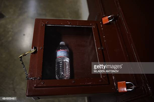 """This photo made during an escorted visit and reviewed by the US military shows the """"safe"""" box for basic goods transfer for the detainee at a cell in..."""