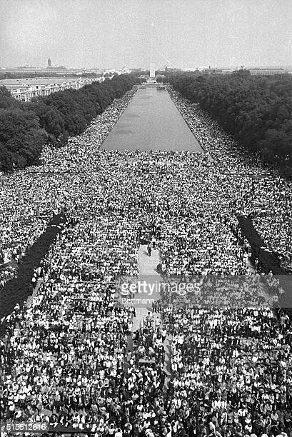 This photo made from the top of the Lincoln Memorial shows how the March on Washington participants jammed the area in front of the Memorial and on...
