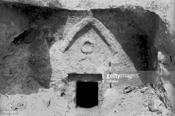 This photo provided by the Israeli Antiquities Authority on February 26 shows the facade of a 1st century AD burial tomb in the Jerusalem...