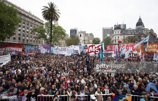 This photo released by Noticias Argentinas shows hundreds of people in the Plaza de Mayo in Buenos Aires on October 1 2017 during a demonstration...