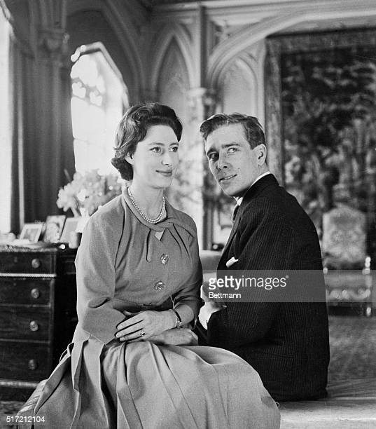 This photo released on February 29th shows Britain's Princess Margaret and her fiance Anthony Armstrong Jones both 29 at Windsor where their...