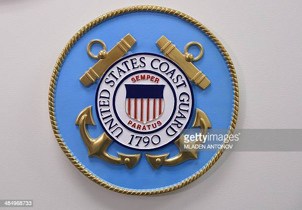 This photo reviewed by the US military shows the United States Coast Guard emblem hanging on a wall at the Joint Detention Forces Headquarters at...