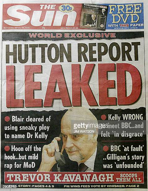 This photo show the 28 January 2004 front page of the Sun newspaper with it's published leak of the Hutton Report in London Lord Brian Hutton who...