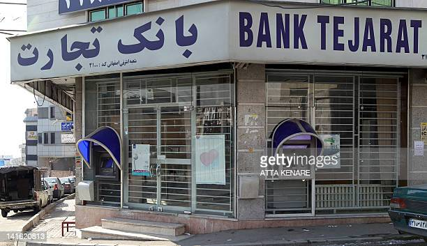 This photo shows a branch of Iranian Bank Tejarat in Tehran on January 24 2012 upon which the US Treasury announced sanctions claiming all of the...