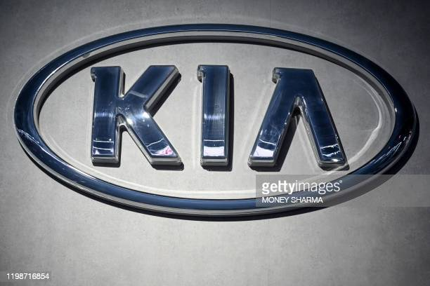 This photo shows a close-up of Kia logo at the Auto Expo 2020 at Greater Noida on the outskirts of New Delhi on February 5, 2020.