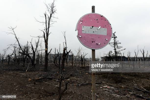 This photo shows a destroyed airport area in the eastern Ukrainian city of Donetsk on February 26 2015 Ukraine's military said Thursday it was...