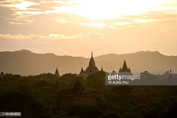 This photo shows a general view of Anada ancient pagoda during sunset in Bagan on July 6 2019 The UNESCO World Heritage Committee on July 6 approved...