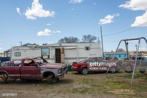 This photo shows a general view of homes on the Lower Brule Indian Reservation on April 22 2020 in Lower Brule South Dakota The threat posed by the...