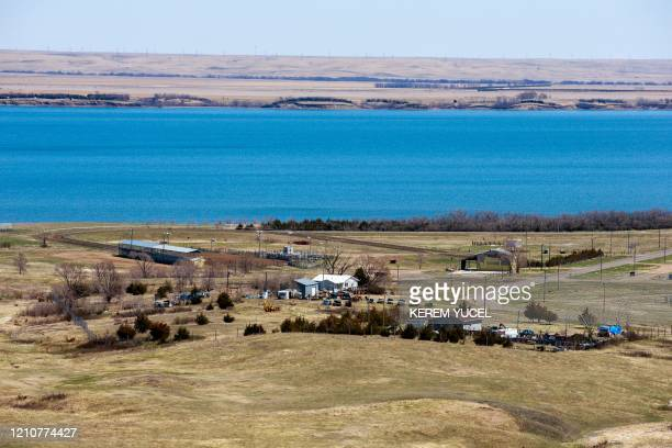 This photo shows a general view of the Lower Brule Indian Reservation with the Missouri River in the background on April 22 2020 in Lower Brule South...